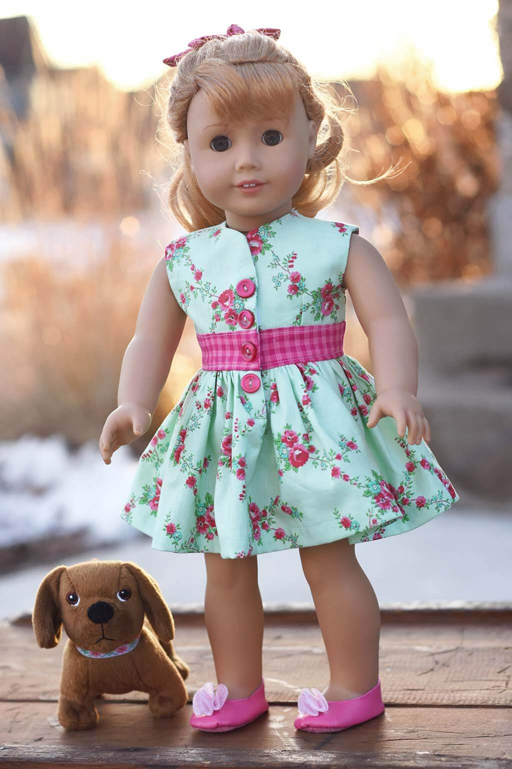flowered and pink gingham Opal doll dress