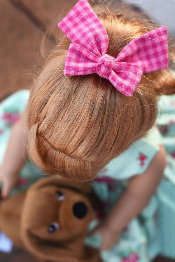 pink gingham Opal doll bow
