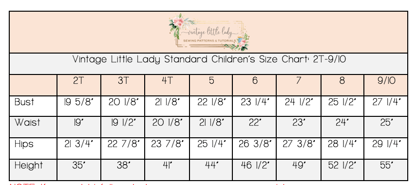 Vintage Little Lady children's size chart from 2T through 10