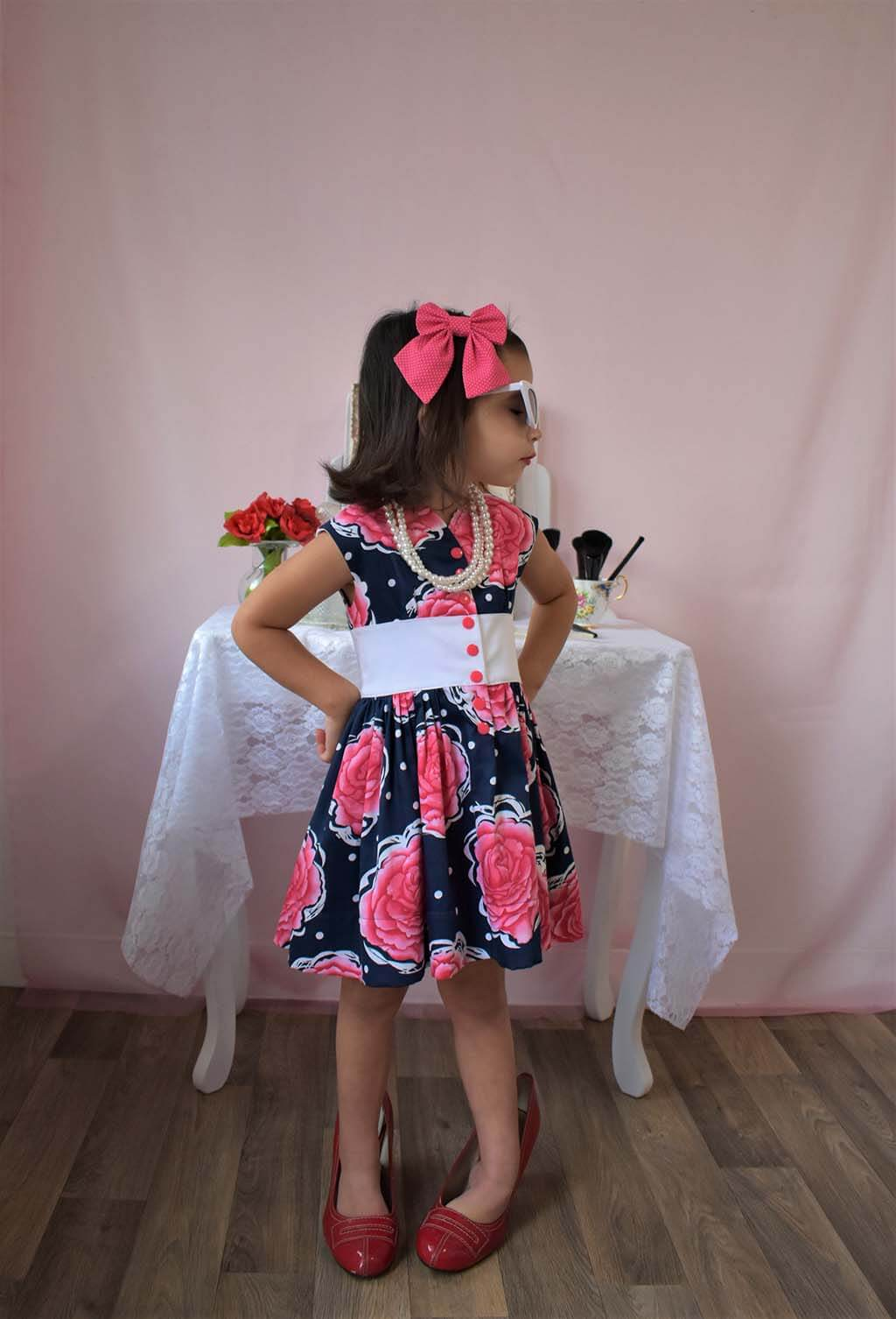Opal girls dress pattern with large roses