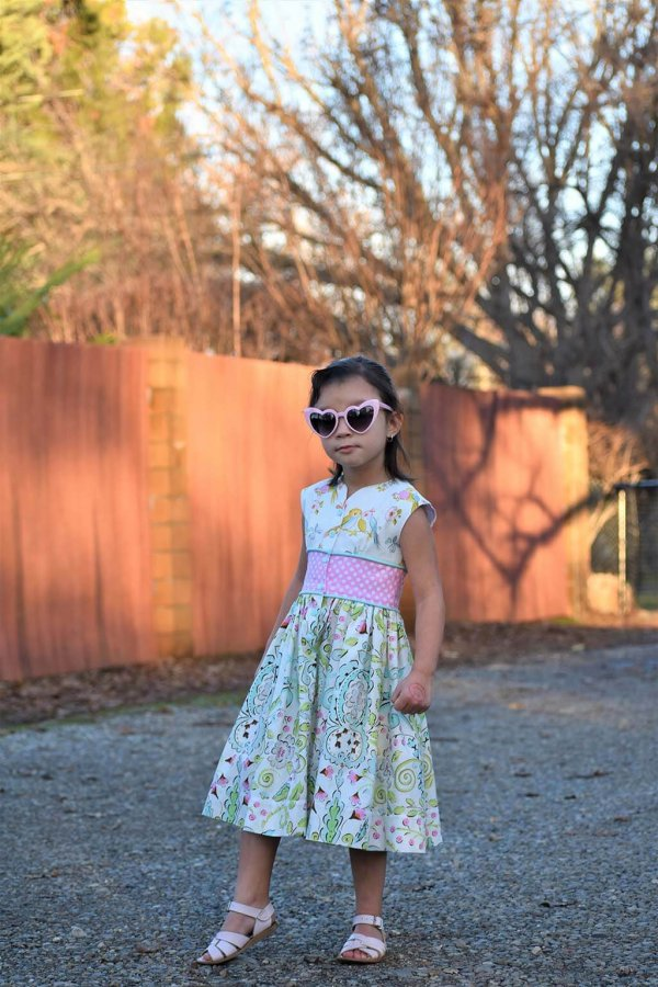Opal girl's dress with 3 fabric designs