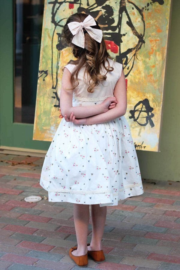 Opal vintage dress with matching bow, back view