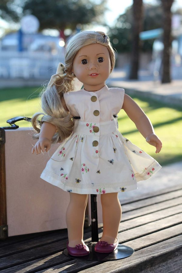 Opal 18 inch doll dress, flowered skirt and pink top