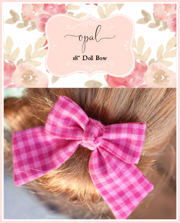 Opal doll bow in pink gingham