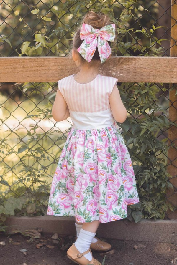 Opal Vintage Dress, Pink Striped Top, White Waist, Flowered Tea Length Skirt, Matching Bow