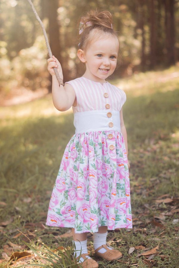 Opal little girls dress with striped top & flowered skirt
