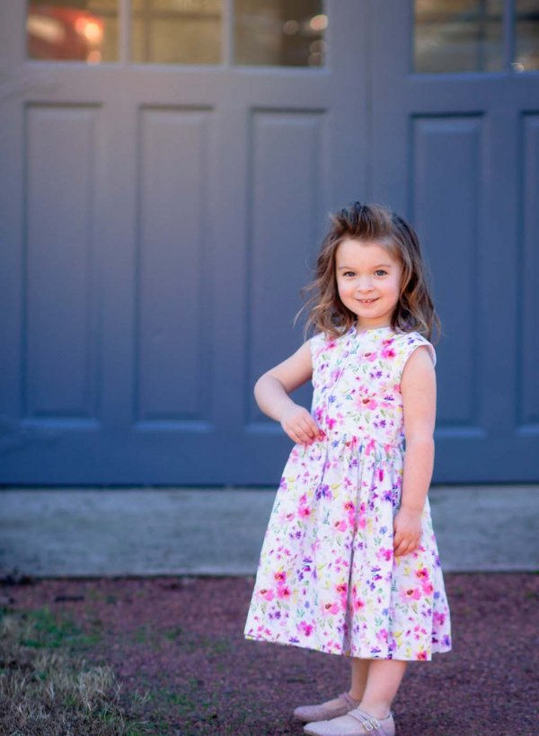 Opal little girls dress pink & purple flowers