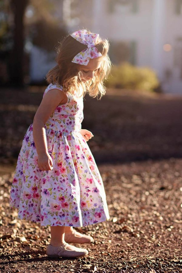 Opal Pink & Purple Flowered Dress, Matching Bow