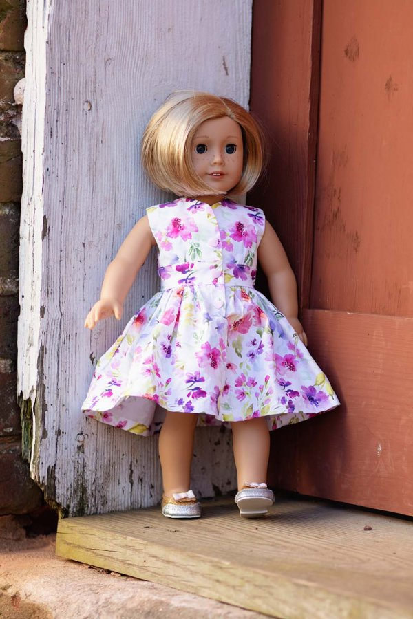 Opal pink & purple flowered doll dress