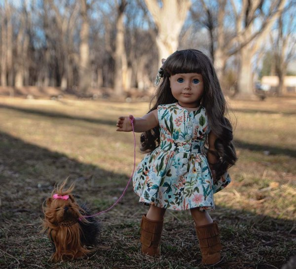 Opal doll walking the dog in flowered calico dress