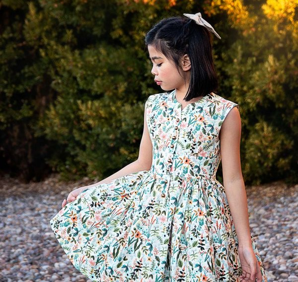 Opal calico flowers girls dress