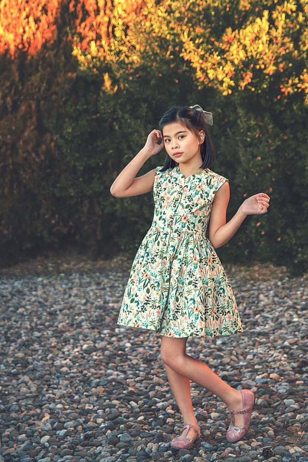 Opal girls dress calico flowers short skirt front view