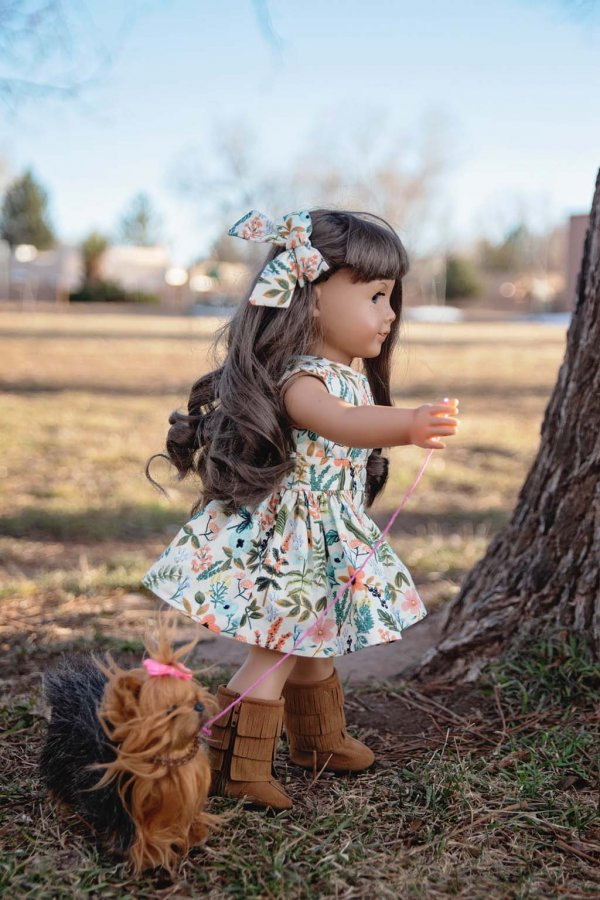 Opal vintage doll dress and matching bow in flowered calico
