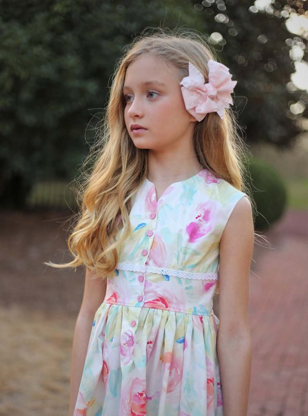 Opal girls dress pastel flowers top detail