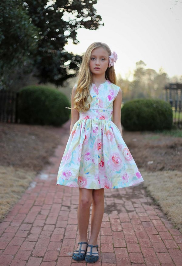 Opal girls dress pastel flowers with short skirt