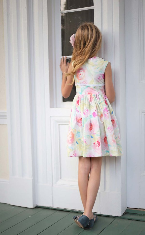 Opal girls dress pastel flowers back view