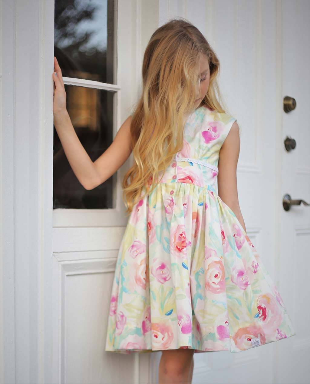 Opal girls dress pastel flowers skirt front