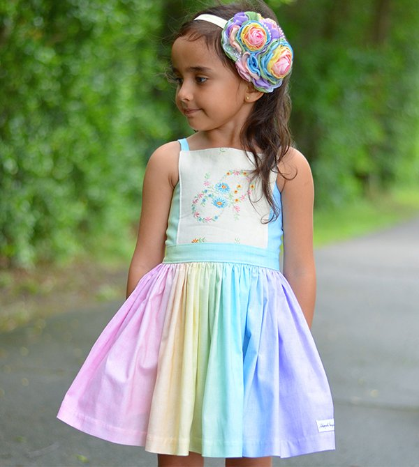 Bristol girls bib front dress and bow