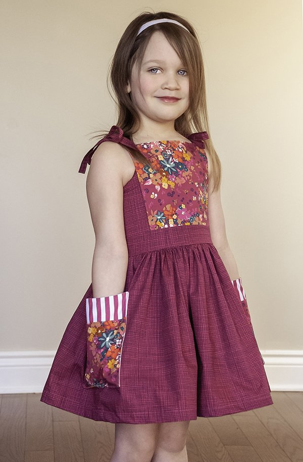 girls dress bib front and pockets