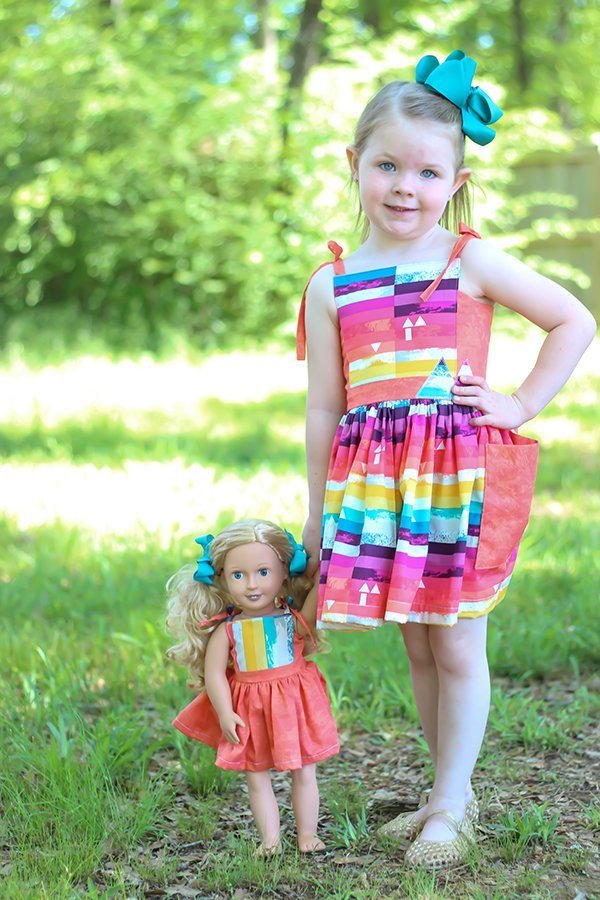 matching dresses for girls and 18 inch dolls