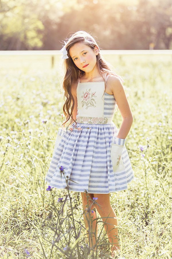 blue stripes and flowers girls Bristol vintage dress