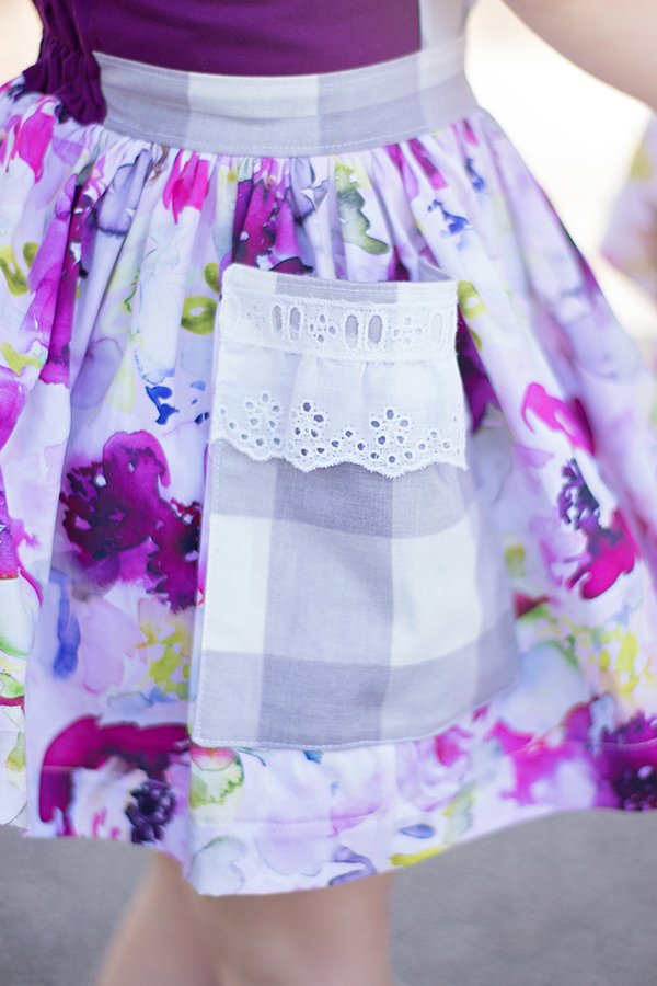 lace and gingham pocket