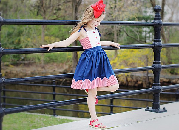 red white and blue vintage girls dress