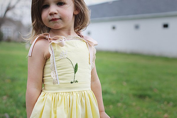 embroidered bib top yellow girls dress