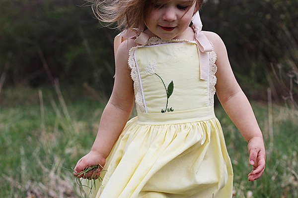 embroidery and lace yellow bib top girls dress