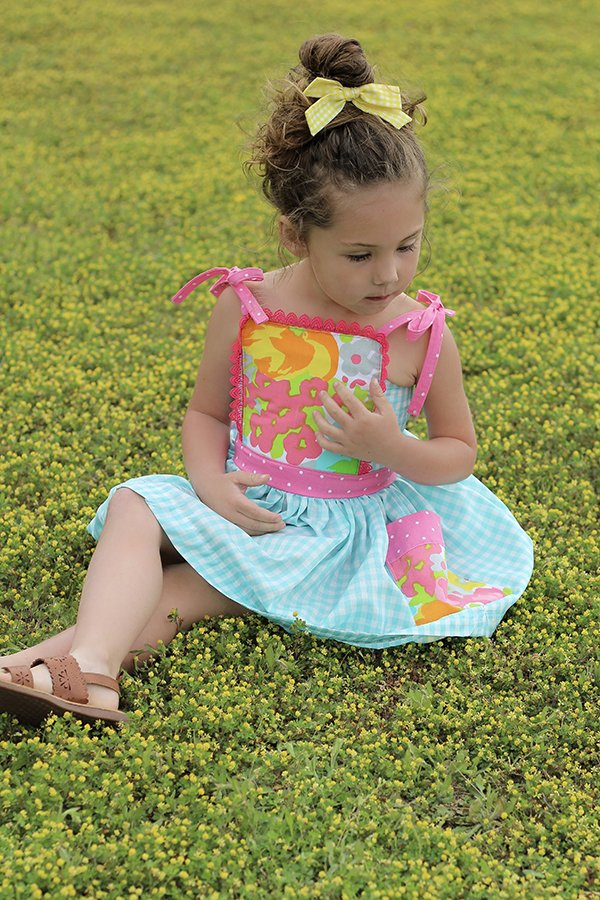girls gingham dress patterned bib top
