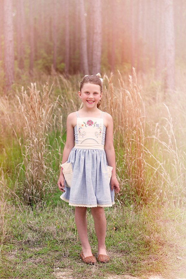 girls Bristol vintage summer dress blue and embroidered white