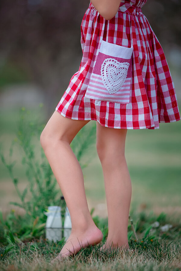 red and white gingham dress heart pocket