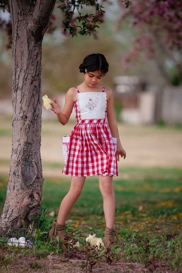 red and white gingham girls dress white top