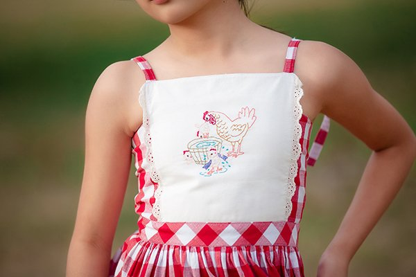 embroidered white top red and white gingham dress