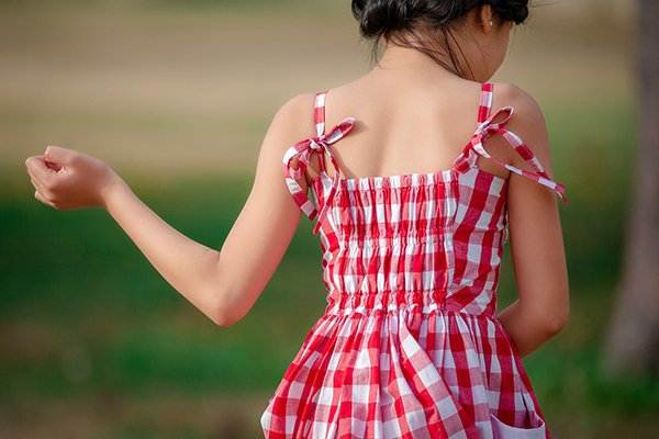 red and white gingham dress back detail
