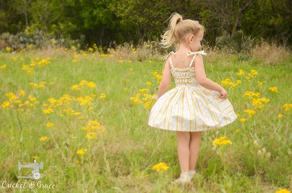 girls yellow and white Bristol vintage dress