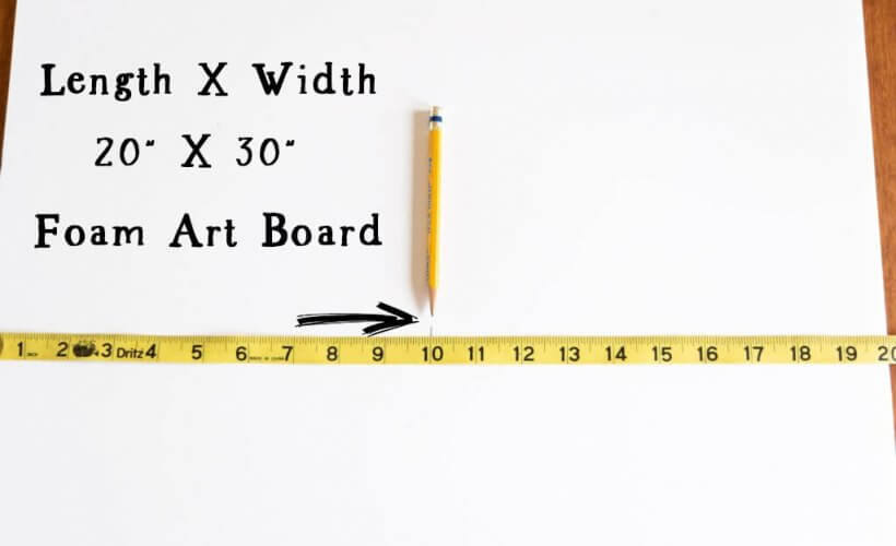 length and width of 20 by 30 foam art board