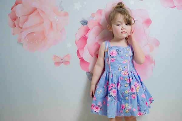 flowered Baker dress with piping
