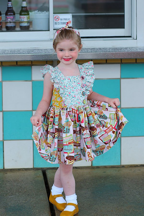 Baker girls dress ice cream prints