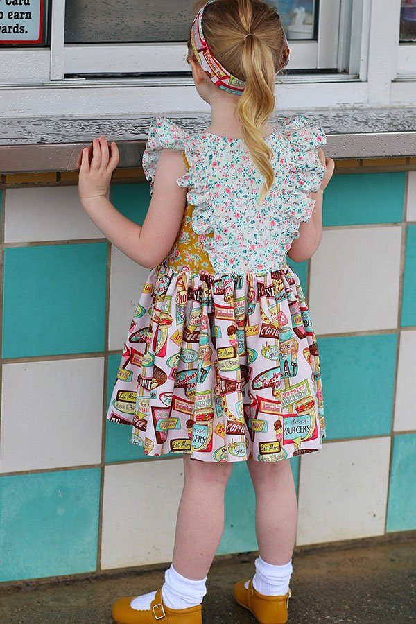 Baker girls dress mixed prints back view