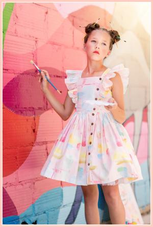 Baker girls dress flutter bodice