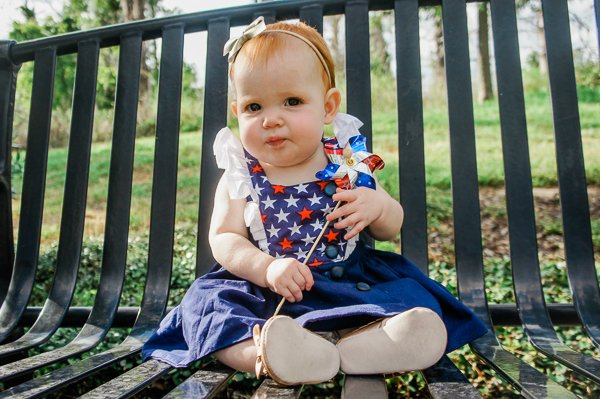red white & blue baby Baker
