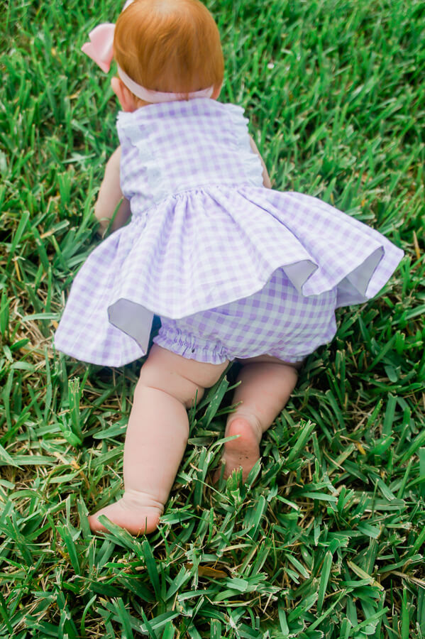 lilac gingham Baker dress and bloomers