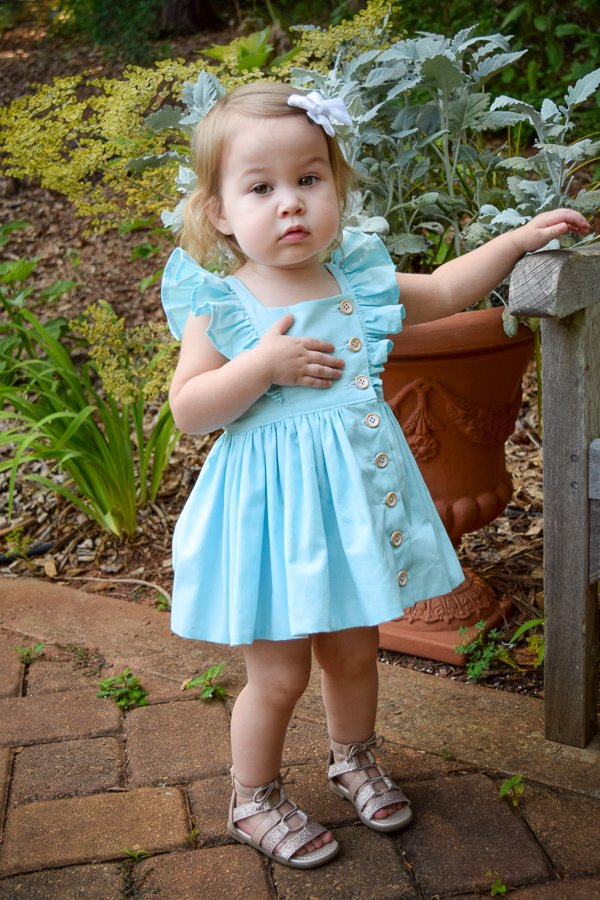 light blue baby Baker ruffled dress
