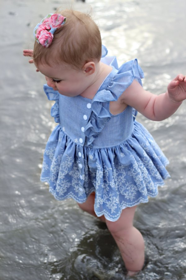 baby Baker dress blue & lace
