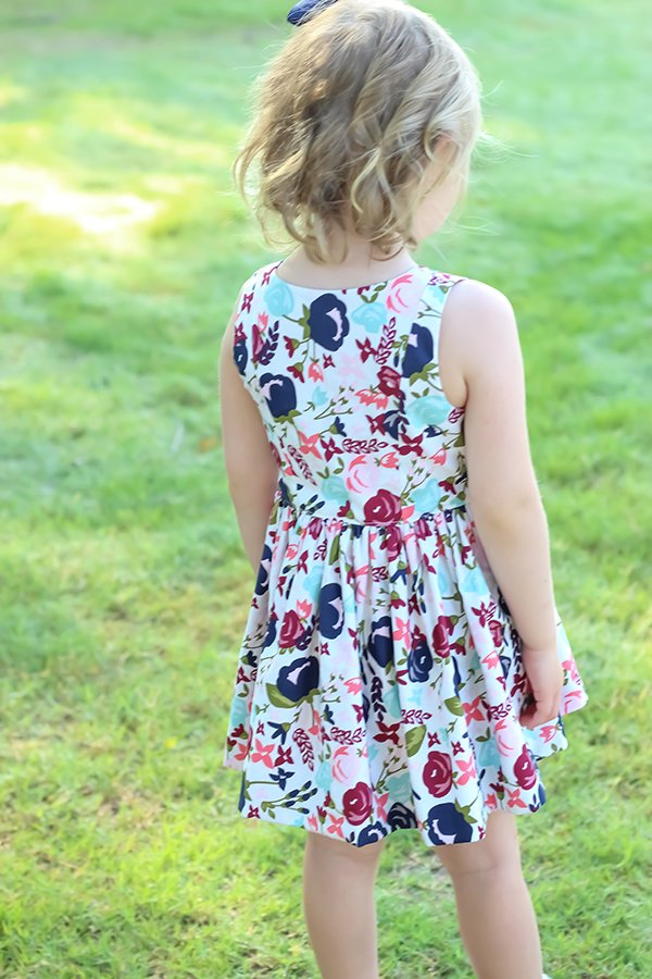back view of simple bodice Baker girls dress