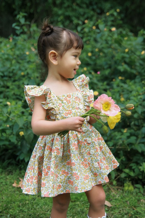 little girls Baker flowered vintage summer dress