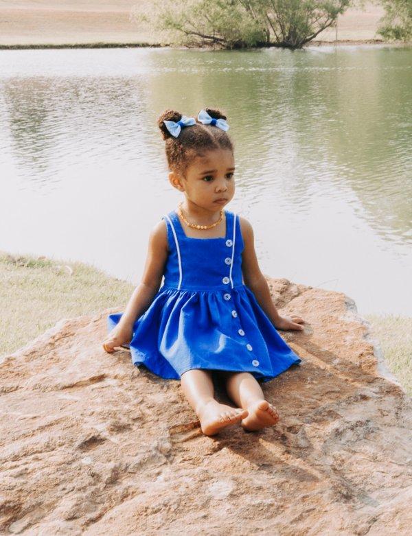 baby Baker dress blue & white