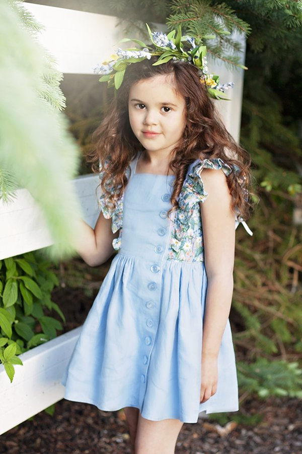 Baker girls vintage dress flowered and blue