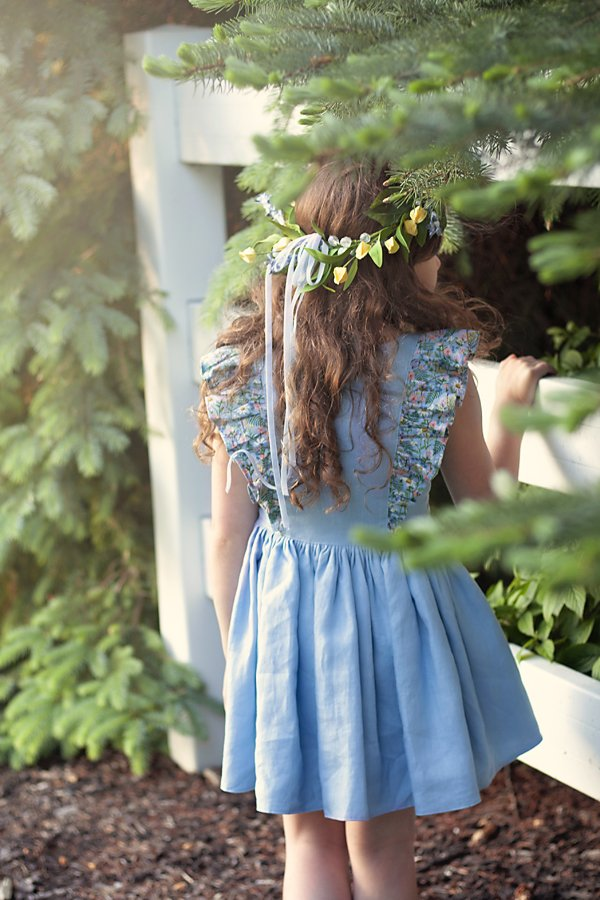 Baker girls dress with flowered flutters